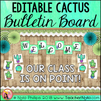 Cactus Themed Bulletin Board Kit - Editable