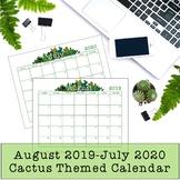Cactus Themed Calendar 2018-19 EDITABLE PDF, PPT
