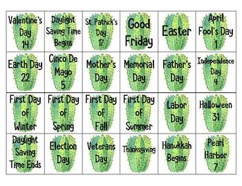 Cactus Themed Calendar Set