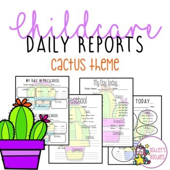 Cactus Themed Childcare Daily Reports (Daycare)