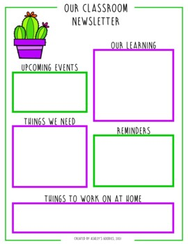 Cactus Themed Childcare Daily Reports with Matching Newsletters (Daycare)