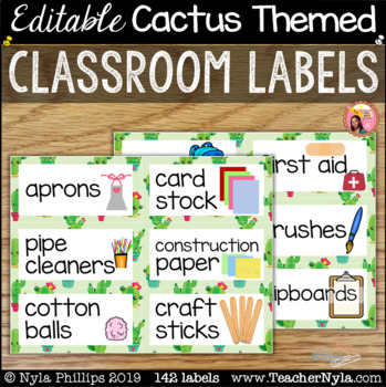 Cactus Themed Classroom Labels with Pictures - Editable