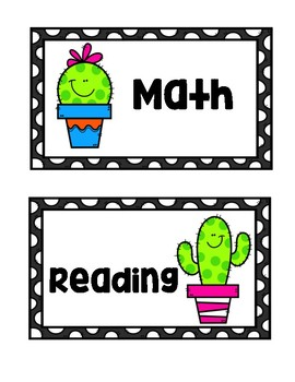 Cactus Themed Daily Schedule Cards