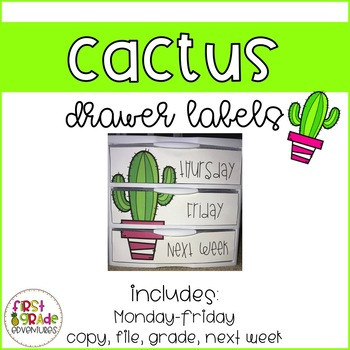 Cactus Themed Drawer Labels [EDITABLE]