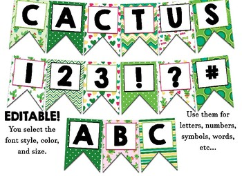 Cactus Themed Editable Bulletin Board Banner