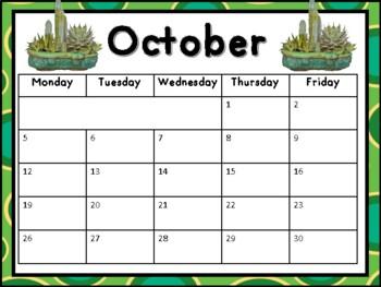 Cactus Themed Editable Calendar 2019-2020