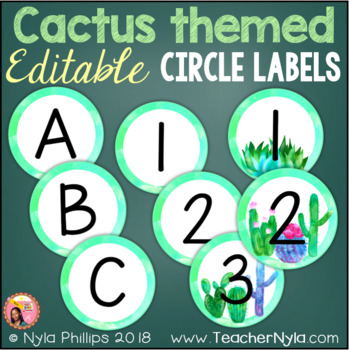 Cactus Themed Editable Circle Labels