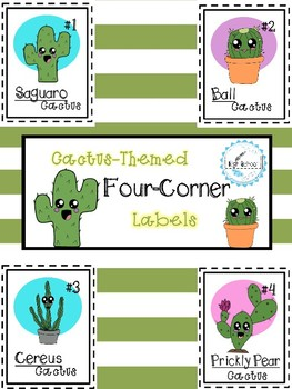 Cactus-Themed Four Corner Labels