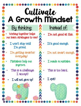 Cactus Themed GROWTH MINDSET Anchor Chart and Poster Set