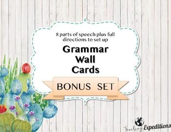 Cactus Themed Grammar Wall Cards BONUS SET