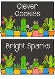 Cactus Themed Group Name Labels