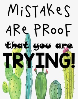 Cactus Themed Growth Mindset Posters