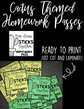 Cactus Themed Homework Passes (READY TO PRINT)