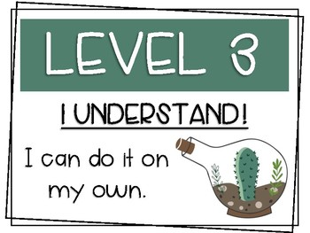 Cactus Themed Levels of Understanding Posters