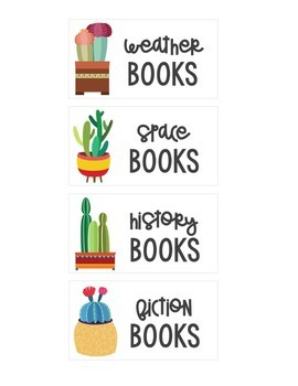 Cactus Themed Library Book Bin Labels: Extreme Makeover Classroom Edition