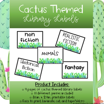 Cactus Themed Library Labels