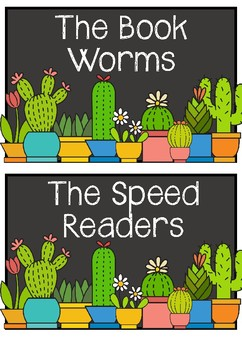 Cactus Themed Literacy/Reading Group Name Labels