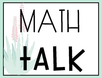 Cactus Themed Math Talk Posters