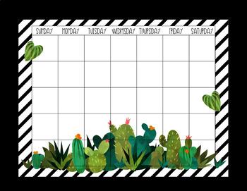 Cactus-Themed Monthly Calendar