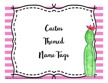 Cactus Themed Name Tags