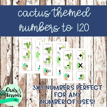 Cactus Themed Number Cards to 120