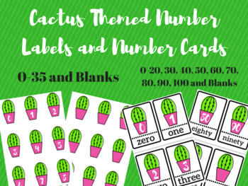 Cactus Themed Number Labels and Number Cards