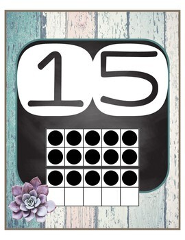 Cactus Themed Number Posters 8x10 w/ten frames