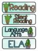 Cactus Themed Pocket Chart Subject Schedule Cards & Calendar