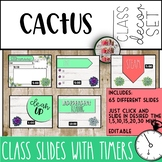 Cactus Themed Powerpoint Editable Slides with Timers Tropical Time Management