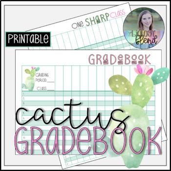 Cactus Themed Printable Grade Book