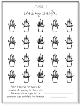 Cactus Themed Reading Logs