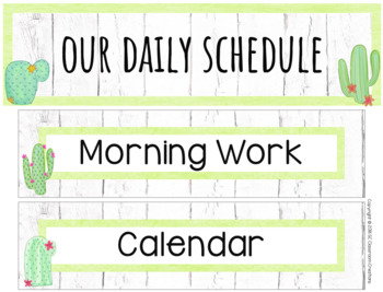 Cactus Themed Schedule Cards-Classroom Decor