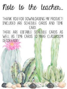 Cactus Themed Schedule EDITABLE