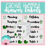 Cactus Themed Sterilite Drawer Labels (EDITABLE)