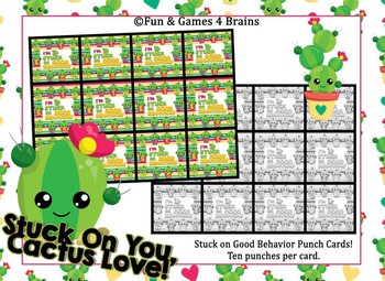 """Cactus Themed """"Stuck on Good Behavior"""" Incentive Punch Cards"""