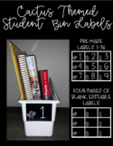Cactus Themed Student Bin Labels (editable)