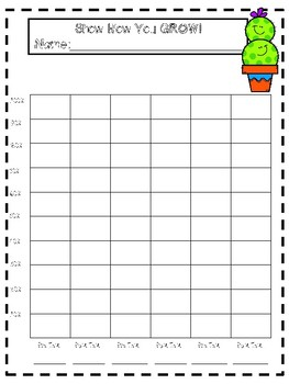 Cactus Themed Student Data Trackers