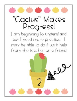 Cactus Themed Student Tracking Posters for Self-Assessment (Marzano)