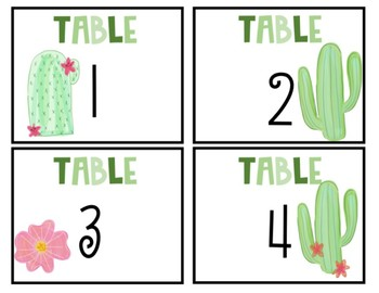 Cactus Themed Table Numbers