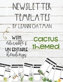 Cactus Themed Weekly newsletter Templates editable
