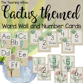 Cactus Themed Word Wall and Number Cards