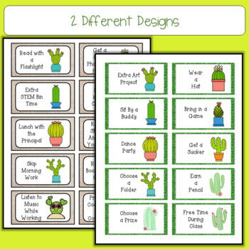 Cactus Treasure Reward Coupons - 50 Rewards for Classroom Management