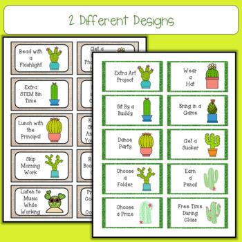 Cactus Treasure Reward Coupons - 50 Rewards for Classroom Management
