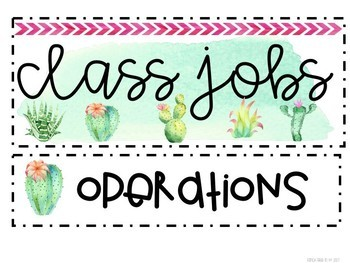 Cactus Water Color Jobs *Editable*