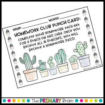 Cactus Watercolor Themed Homework Club Punch Card