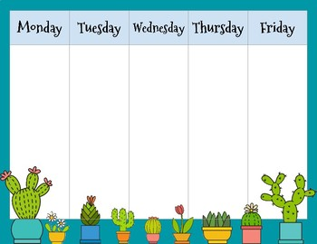 Cactus Weekly Calendar