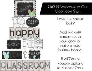 Cactus Theme Welcome to Our Classroom Sign