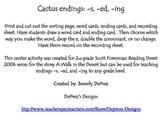 Cactus Word Endings Reading Street Grade 2 A Walk In the Desert