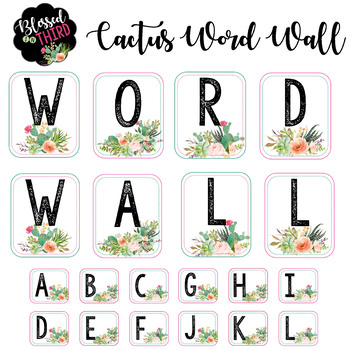Cactus Word Wall Labels