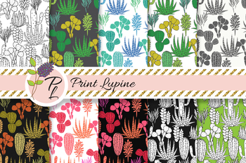 Cactus and Agave Seamless Pattern Set. Digital paper pack.